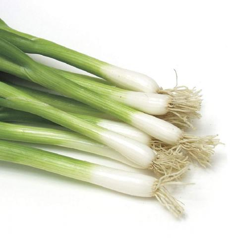 Scallions with green tops and white bases