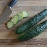 Cucumber - Olympian - beautiful, dark green, straight, mid-size fruit are crisp with fresh flavor